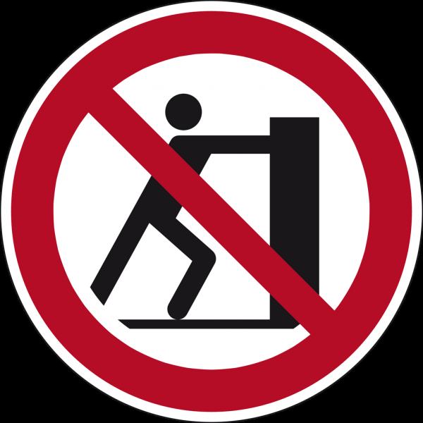 Schild Schieben verboten
