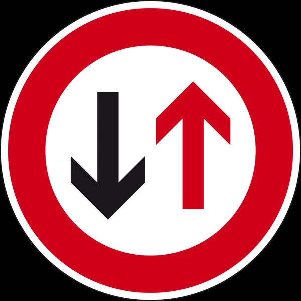 Verkehrsschild Dem Gegenverkehr Vorrang gewähren!