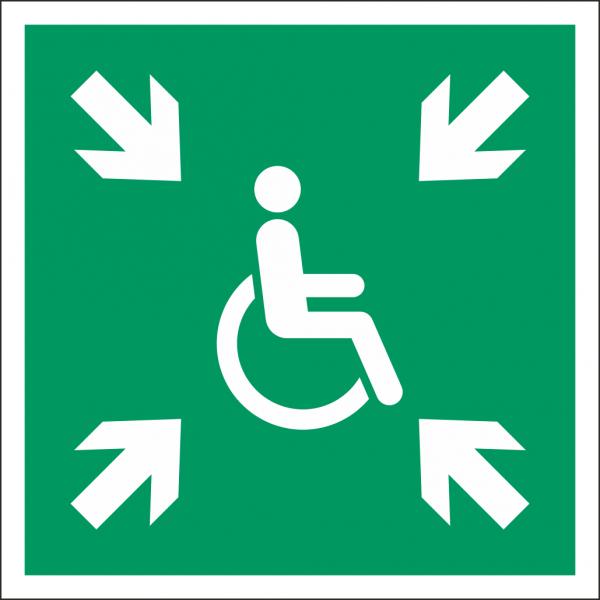 Schild Vorläufige Evakuierungsstelle