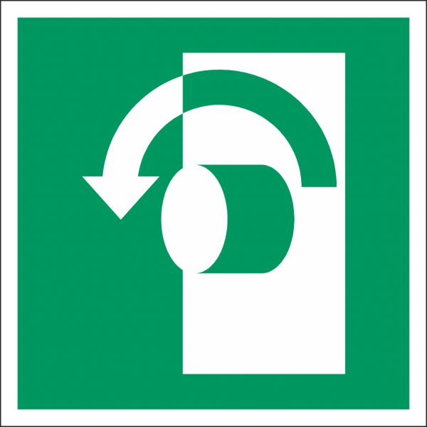Schild Öffnung durch Linksdrehung