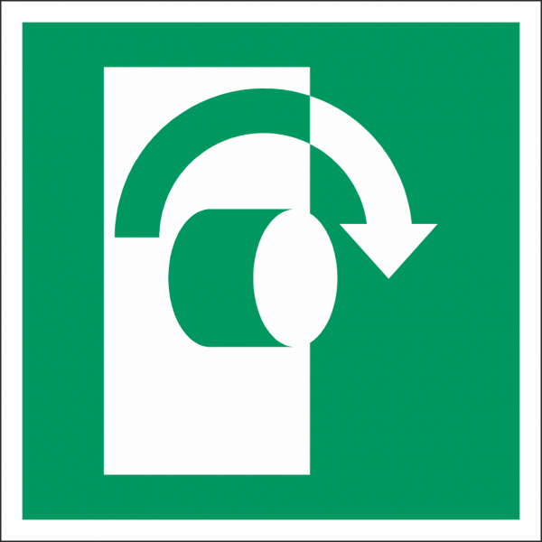 Schild Öffnung durch Rechtsdrehung