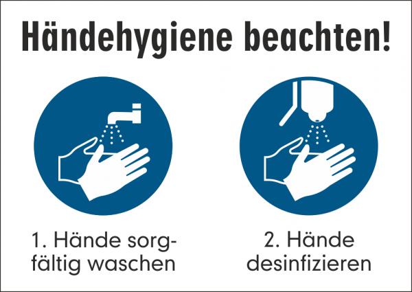 Schild Händehygiene beachten!