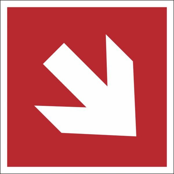 Brandschutzschild Richtungspfeil schräg