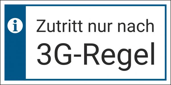 Schild Zutritt 3G Regel