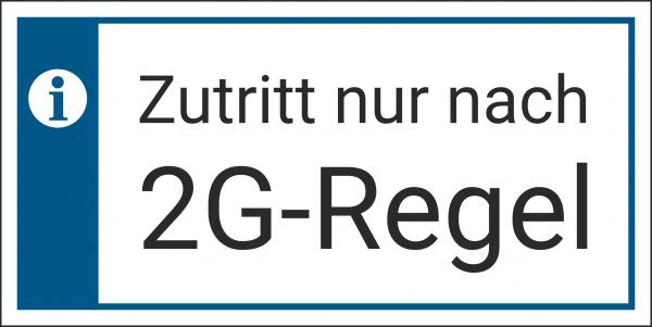 Schild Zutritt 2G Regel